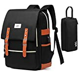 Vintage Laptop Backpack for Women Men Waterproof School Backpack Fashion Backpack with USB Charging Port Travel Backpack Fits 15.6 Inch Notebook with...