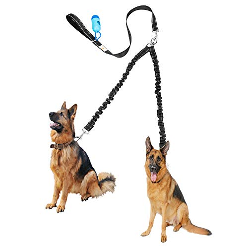 Tangle Free BungeeX2 Double Dog Leash Coupler, 360° Swivel No Tangle Double Dog Walking & Training Leash, Comfortable Shock Absorbing Reflective Bungee Lead Walk 2 Dogs with Ease, 30-100lbs