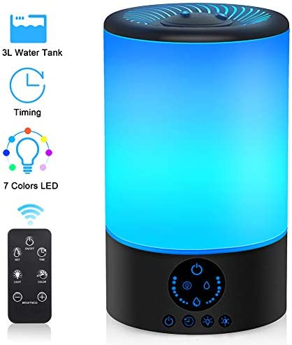 Cool Mist Humidifier, 3L Top Fill Ultrasonic Humidifier for Bedroom with 7 Colors Night Light and Remote Control, Adjustable Mist Levels, Optional Timer, 6 Dimmer, Super Quiet Operation Black