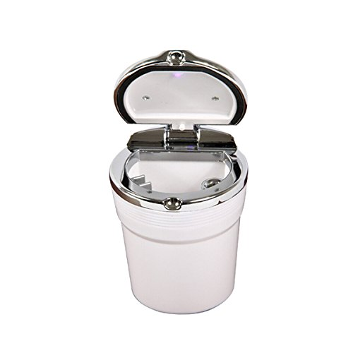 YSM Car Cigarette Ashtray Portable Stainless Auto Vehicle Ash with Blue LED Light Smokeless Stand Cylinder Cup Holder(White)