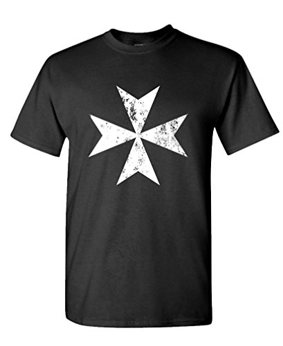MALTESE CROSS DISTRESSED - malta christian Tee Shirt T-Shirt, XL, Black