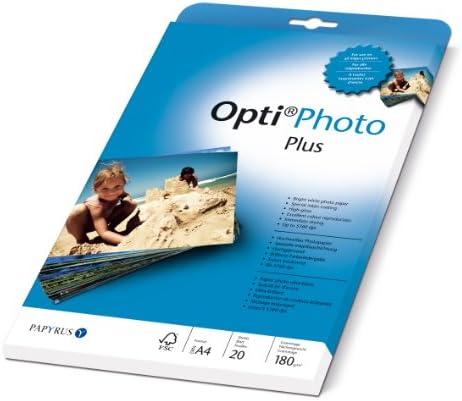 Papyrus 88081851 Foto-Papier Opti Photo Plus: A4, 180 g/m², 20 Blatt, hochweiß, hochglänzend, Sofort Trocken, für Tintenstrahldrucker
