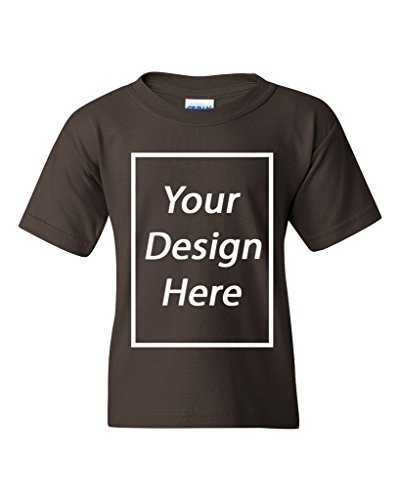 City Shirts Add Your Own Text Design Custom Personalized Youth Kids T-Shirt Tee (Small, Dark (Personalized Dark Chocolate)