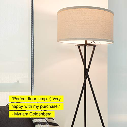 Brightech Jaxon Tripod LED Floor Lamp – Mid Century Modern, Living Room Standing Light – Tall, Contemporary Drum Shade Lamp for Bedroom or Office – Black by Brightech (Image #9)