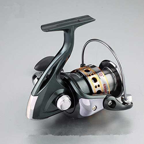 HITSAN INCORPORATION GA1000-7000 12+1BB Ball Bearing Aluminum Left/Right Olive Shape Soft Rubber Handle Non-Gap Fishing Spinning Reel 5.5:1 Color Gray Bearing Quantity 13 Spool Capacity 3000 Series