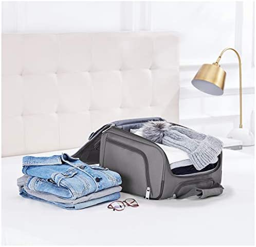 Amazon Basics Underseat Carry-On Rolling Travel Luggage Bag, 14 Inches, Grey