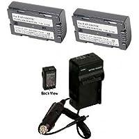 2 Batteries + Charger for Panasonic PV-DV400D, Panasonic PV-DV401, Panasonic PV-DV402, Panasonic PV-DV600, Panasonic PV-DV601