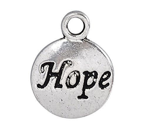 Housweety Silver Message Pendants 15x12mm
