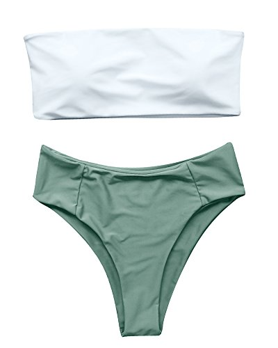 OMKAGI Women's 2 Pieces Bandeau Bikini Swimsuits Off Shoulder High Waist Bathing Suit High Cut(L,White Green-YB1770) ()