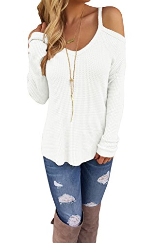 OUR WINGS Women White Cold Shoulder Knit Long Sleeves Sweater M