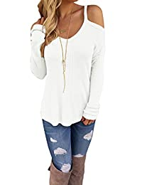 Women Off Open Shoulder Loose Knit Cable Pullover Sweater Top Blouse