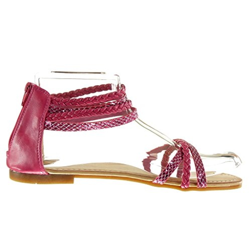 Angkorly - Chaussure Mode Sandale femme pailettes multi-bride tréssé Talon bloc 1 CM - Rose