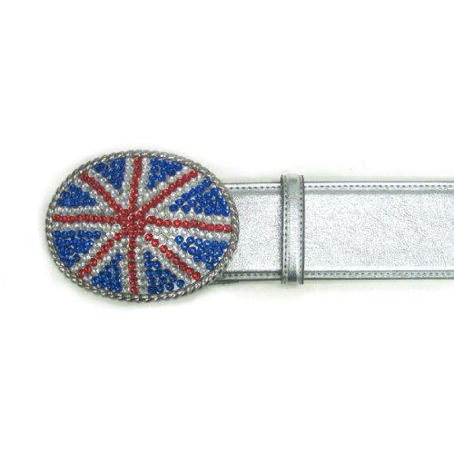 Ladies' Fashion Union Jack British Flag Rhinestone Embellished Buckle on Prem... - Silver Union Jack