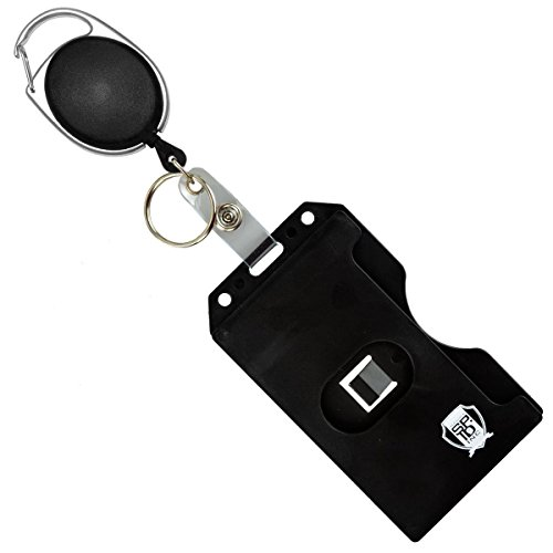 Specialist ID Carabiner Badge Reel with Vertical Multi Card Badge Holder and Key Ring - Max Weight 2 ID Cards & 1 Key (Black)