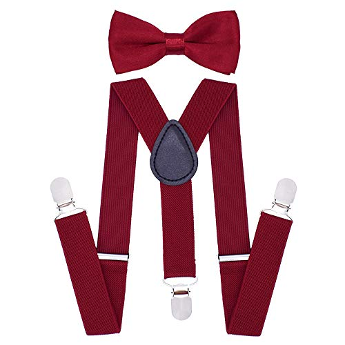 Cinny Suspender Set with Bow Tie for Kids (Wine Red)