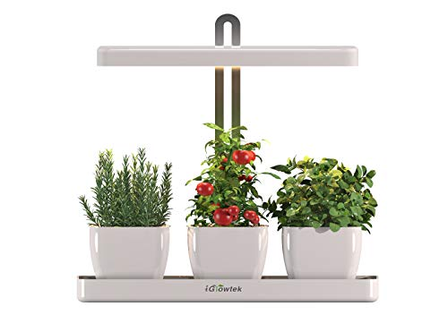 iGrowtek Indoor Smart Herb Garden, LED Grow Light for Herb Planters and Flower Pots with Built-in Timer, Height Adjustable,Warm White Light Spectrum,Safe Low Voltage 24V DC Adapter Input,White