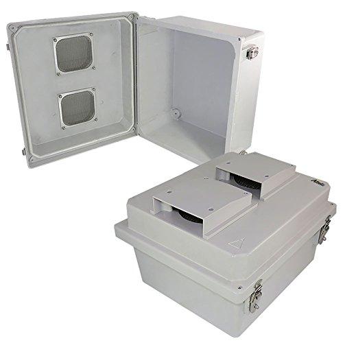 Altelix 14x12x8 Vented FRP Fiberglass Weatherproof NEMA Box Weatherproof Equipment Enclosure with Hinged Lid & Stainless Steel Latches (Nema 3r Weatherproof Enclosure)