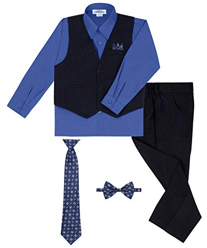 Boy's Vest and Pant Set, Includes Shirt, Tie and Hanky -  Black/Royal Blue, 7