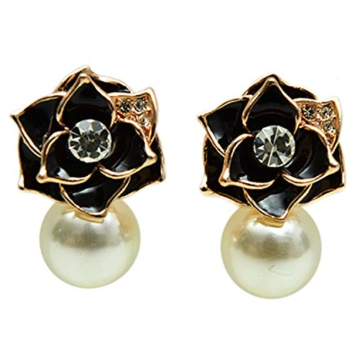 Monrocco Ross Gold Plated Pearls Flower Stud Earrings for Women for Teen for Mother
