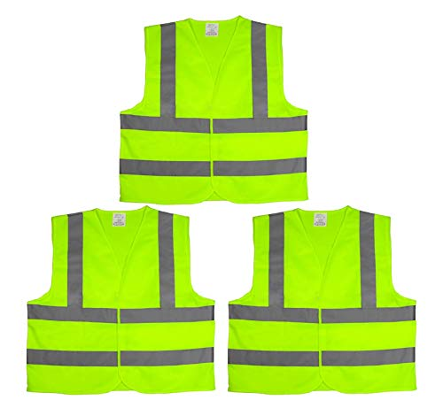 High Visibility Safety Vest With Reflective Strips, Yellow Neon ANSI/ISEA Standards -X X Large - 3PK