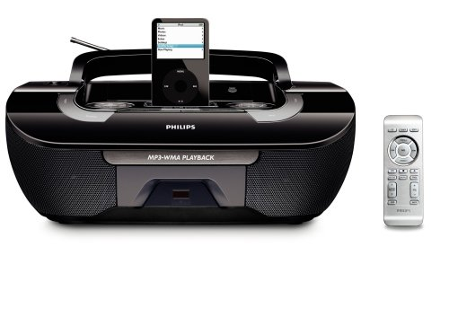 Philips AZ1330D MP3/WMA-CD Speaker System with Remote Control and iPod Dock (Black)