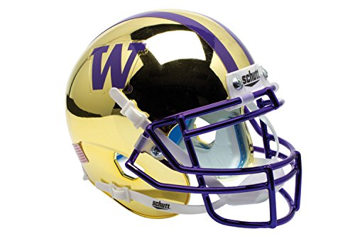 NCAA Washington Huskies Gold Chrome Authentic Helmet, One Size by Schutt