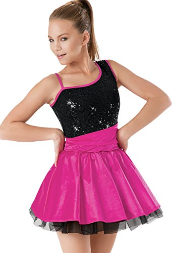 Balera Asymmetrical Sequin and Satin Dance Dress with Petticoat and Built-In Brief Lipstick Child (Cummerbund Costume)