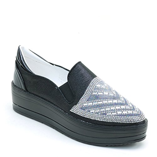 New Brieten Womens Rhinestones Platform Loafers Shoes Black 24gVn2