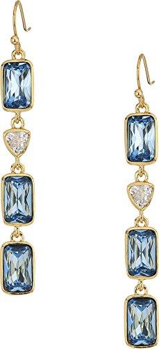 Cole Haan Women's Multi Drop Linear Earrings Gold/Clear Cubic Zirconia/Blue London Spinel Glass Stone One - Shop Glasses London