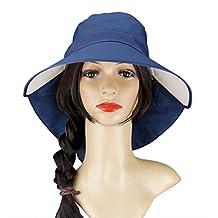 Womens Sun Shade Hat Summer Cap Cotton Anti-UV UPF 50+ Wide Brim Adjustable Hat