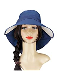 Womens Sun Shade Hat Summer Cap Cotton Anti-UV UPF 50+ Wide Brim Adjustable Hat
