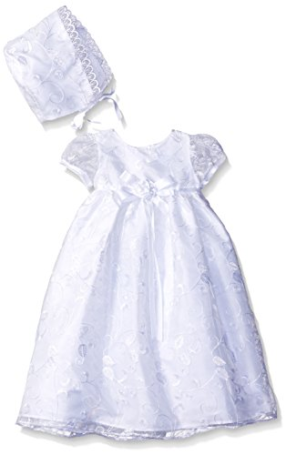 Picture Perfect Girls' Baby Embroidered Organza Christening Dress with Bonnet, White, 0-3 Months