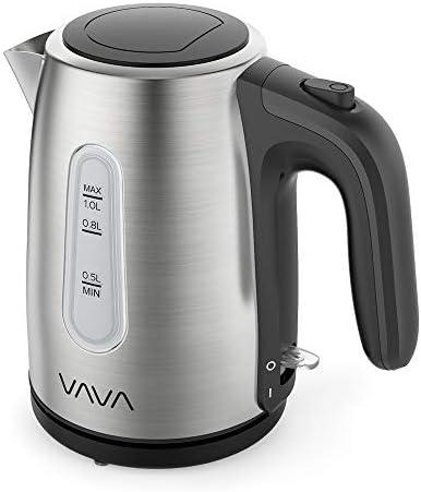 電気ケトル VAVA 1.0L ステンレス製 ワンプッシュで蓋を開く BPAフリー 断熱ハンドル 自動電源オフ 空焚き防止 コーヒー お茶 プレゼント PSE認証済 VA-EE018 一年間安心保証