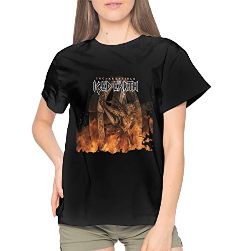 Iced Earth Incorruptible Women's Cotton T-Shirt Casual Short Sleeve Top S Black -
