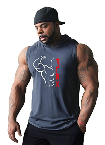 Crazee Wear Sleeveless Hoodie Flex Bodybuilding Workout Mens Grey