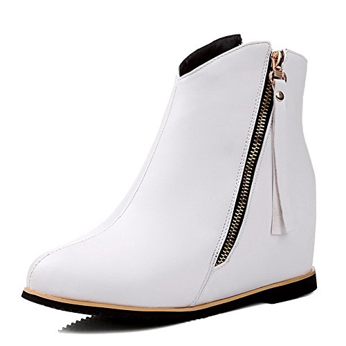 Allhqfashion Women's Round Closed Toe Low-top High-Heels Solid PU Boots White T1JkcJf