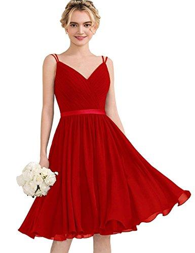 Kleider Chiffon Ballkleider Kurz Hochzeit Beyonddress Spaghetti Damen Festzug Partykleider Abendkleider Rot Träger 5pwBqz0