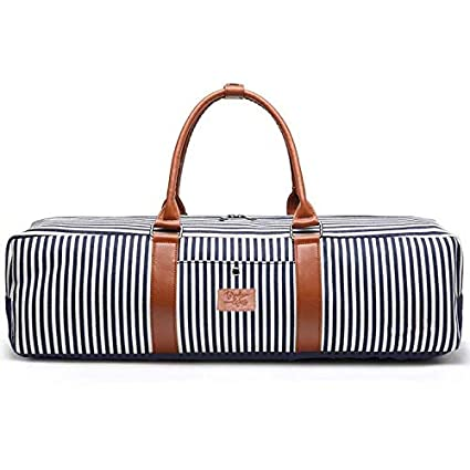 Cute, Trendy, Modern Striped Gym Yoga Mat Tote Bag for Women - Workout Tote that Carries Mat - Fitness Tote Bag for Women (Gym Tote Bag, Navy Striped ...