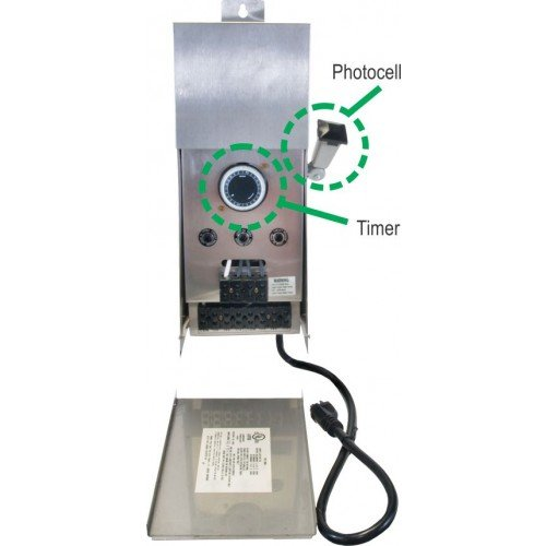 600W TRANSFORMER W/ BUILT-IN TIMER & PHOTOCELL BLACK METAL by EVERGREEN