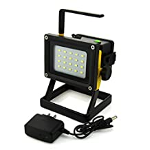 WindFire® Portable Rechargeable Cordless 20 leds 30W 2400LM CREE XM-L LED Work Light Flood Light - Durable Waterproof Emergency Light Trouble Light w/ Stand 3 X 18650 Battery Powered IP65 Weather Resistant Portable Led Flood Spot Working Light Lamp Flood Lighting Flashlight with Direct Charger for Car Traveling Camping Fishing (Battery not included)