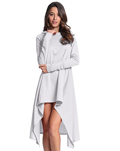 Casual Blanco Asimétrica Camiseta Elegante Con Capucha Larga Styledome Largas Mujer Mangas Sudadera v7qgq6w
