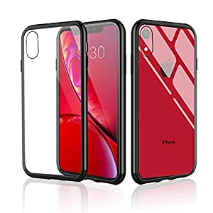 Meidom iPhone XR Case with Air Cushion Technology and Anti Slide,Full Protective Glass Cover Case for iPhone XR-Glass Black