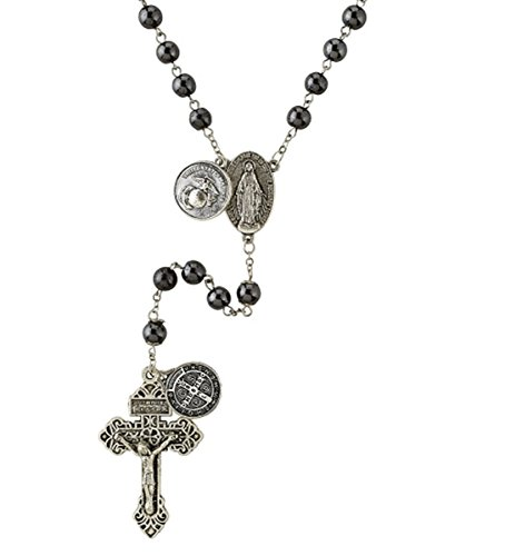 silver-tone-us-marines-military-black-prayer-bead-rosary-necklace-21-inch