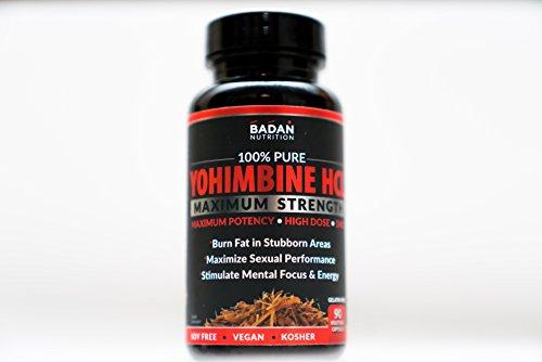 Badan Nutrtion Pure YOHIMBINE HCL, 90ct, 5MG HIGH DOSE, Maximum Potency, Burn Subborn Fat, Maximize Sexual Performance (Blood Flow, Libido & Stamina) 100% Natural, Soy Free, Vegan, Kosher! (90)