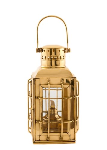 Coastal Christmas Tablescape Décor -  Nautical hurricane Chief's brass oil lantern by Vermont Lanterns