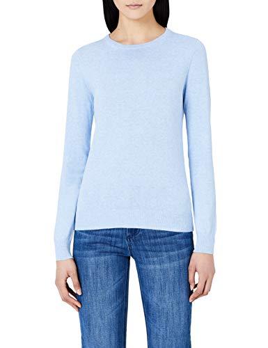 (MERAKI Women's Cotton Crew Neck Sweater,  (Ocean Blue), L (US 10))