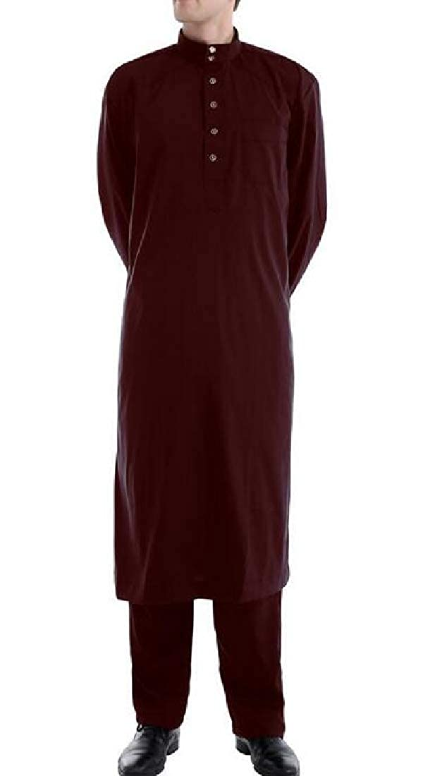 MOUTEN Men Muslim Arab Thobe Kaftan Robes Calf Length 2 Piece Outfits Pants Sets