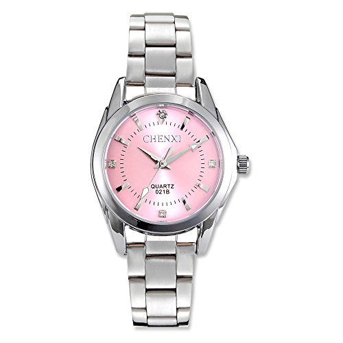 Women Quartz Watches Casual Fashion Waterproof Watches Diamond Rhinestone Luminous Wrist Watch – Pink