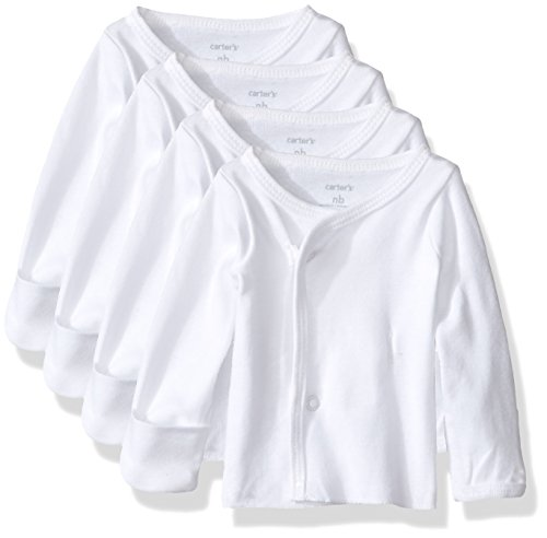 Carter's Unisex Baby 4 Pack Side Snap Tees (Baby) - White - 6M