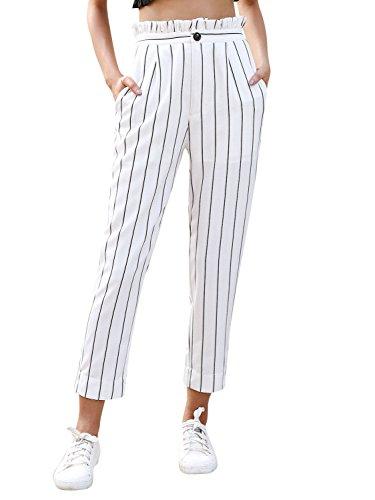 BerryGo Women's Casual High Waist Striped Ruffle Harem Pants Loose Trousers White,L